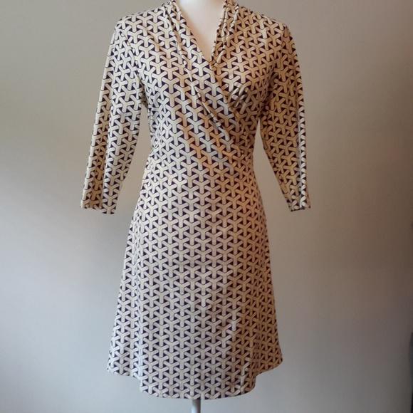 J. McLaughlin Catalina Wrap Dress Cream/Purple M